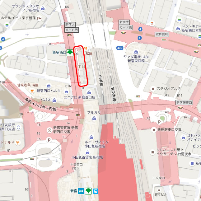 新宿駅西口金券ショップ通り全店舗