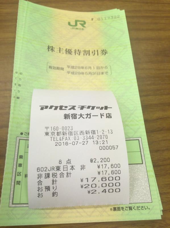 JR東日本株主優待券また買ってきた。現在の価格は?
